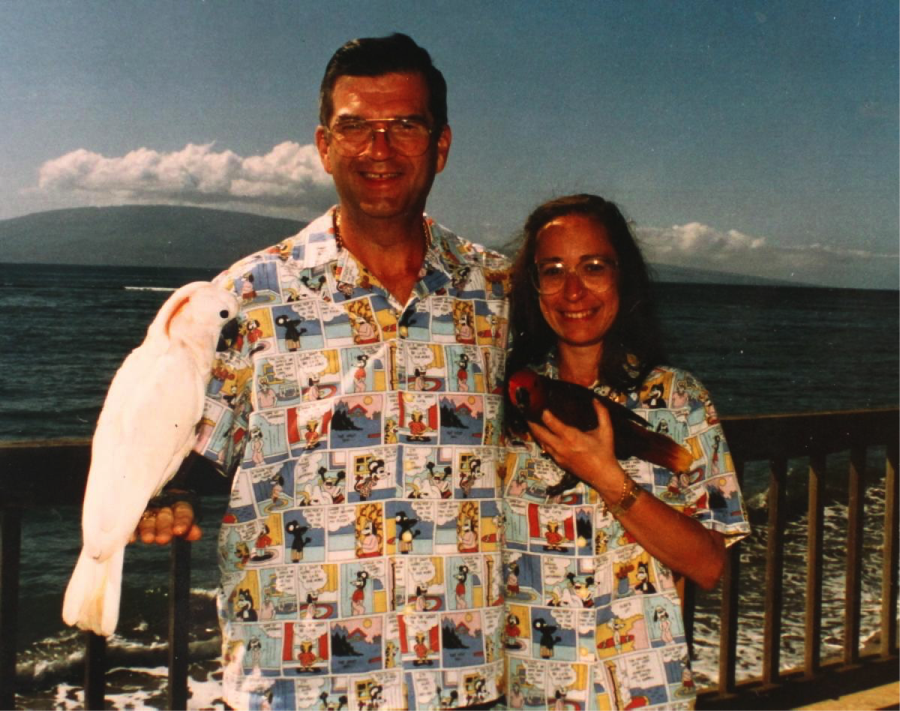 couple in matching shirts